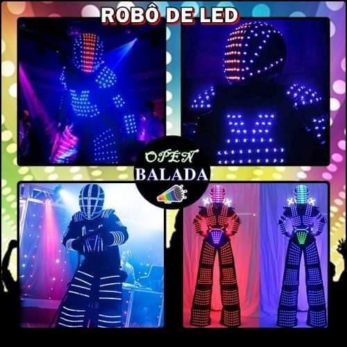 dj, recreação, robô de led e personagens vivos.