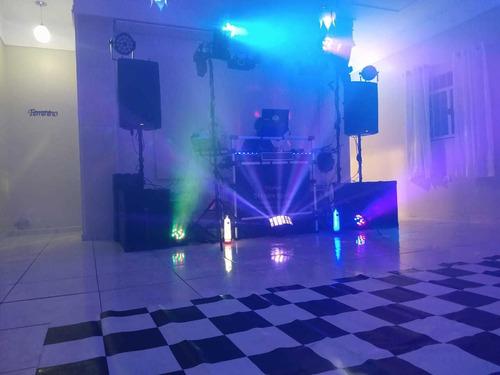 dj, som, iluminação, telão, pista de dança e transporte