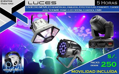 dj sonido luces led cabezas moviles fiesta eventos chicoteca