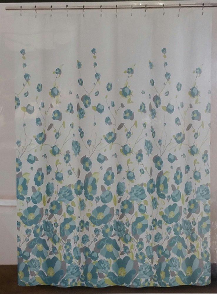 Dkny Falling Petals Teal Shower Curtain Cargando Zoom