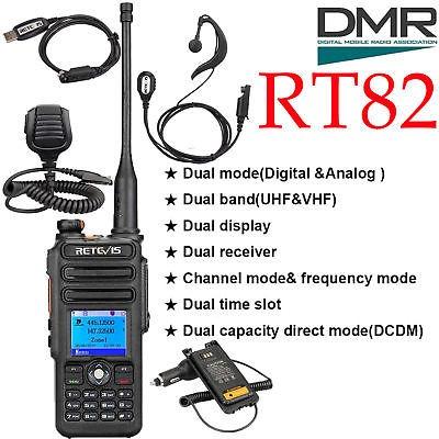Dmr Retevis Rt82 Walkie Talkie Doble Banda Radio + Cable/aur