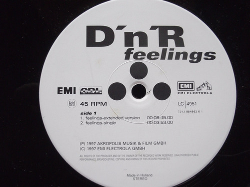 d'n'r  -  feelings 4 tracks - holland