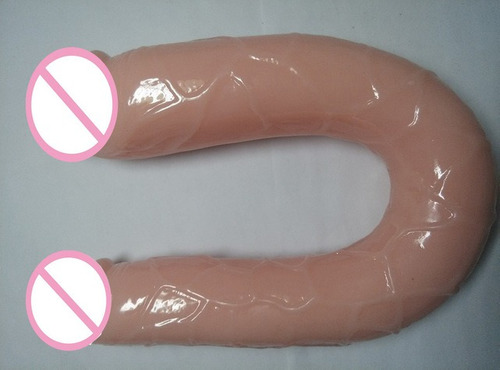 doble cabeza forma en u dildo suave flexible real feel