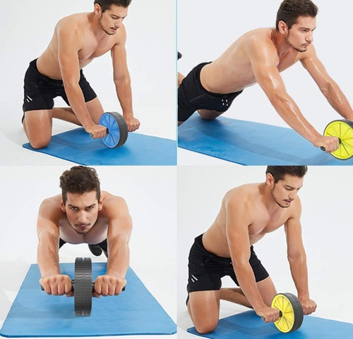 doble rueda abdominal+mini alfombrilla fitness - 237001
