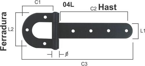 dobradiça de porteira tipo ferradura pintada n 01