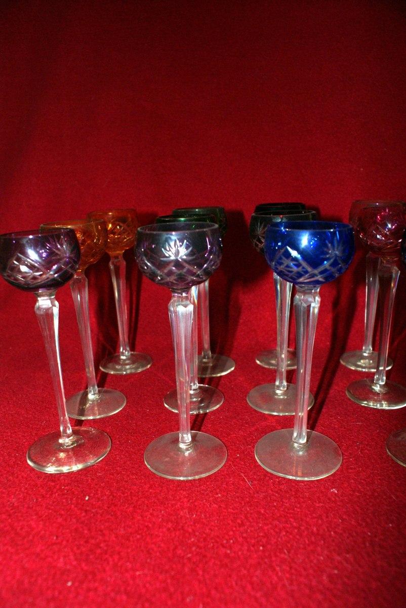 Doce copas de cristal cortado de bohemia 14 en for Copas bohemia