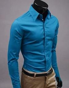 63510246e Camisa De Vestir Azul Marino Camisas Manga Larga Hombre - Ropa ...