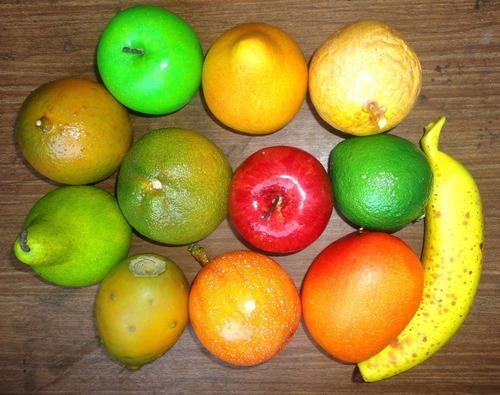 docena de frutas artificiales - decorativas