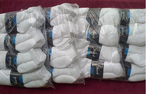 docena de medias blancas deportivas tobilleras tallas l / g
