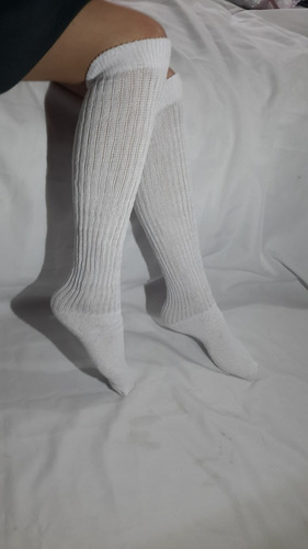 docena media colegial extralarga dama r36 blanca talla 10-12
