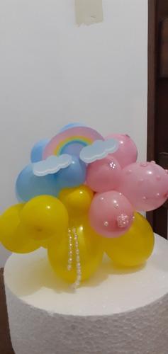 doces salgados e bolos, balões