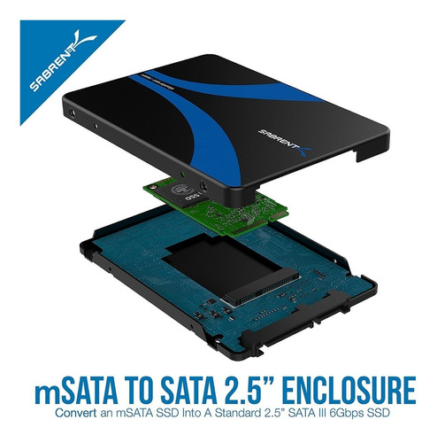 docking para disco - sabrent - msata ssd a sata iii 2.5