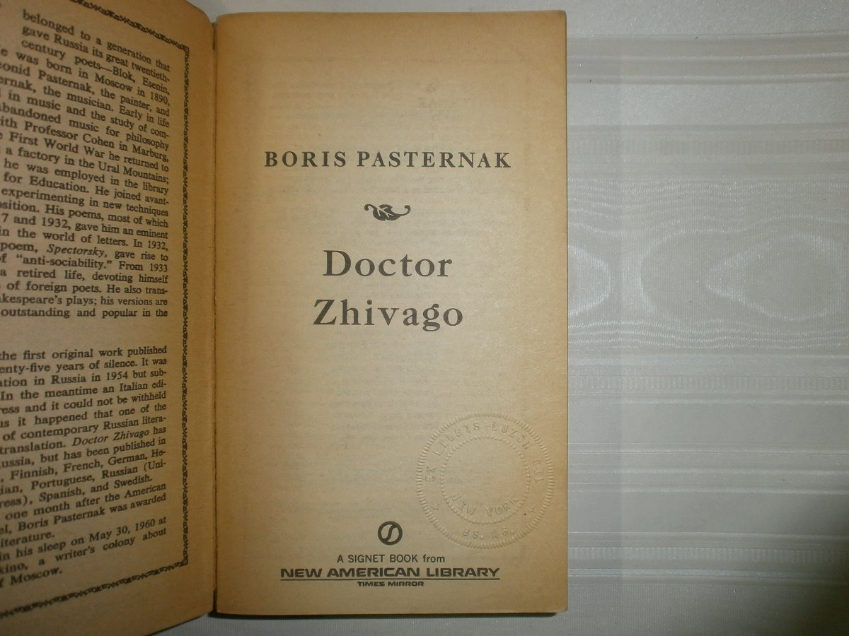 Doctor Zhivago Boris Pasternak Signet Book New American Usa 10164