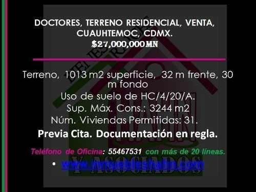 doctores, terreno residencial, venta, cuauhtemoc, cdmx.