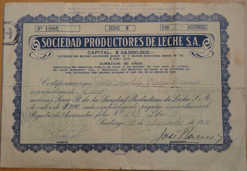 documento antiguo acciones productores  leche santiago 1950
