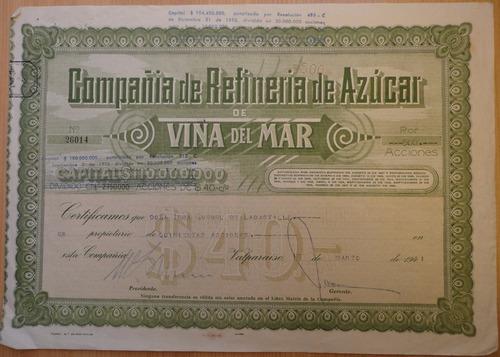 documento antiguo acciones refineria azucar viña del mar1941
