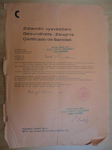 documento antiguo certificado de sanidad  praga 1939 visados