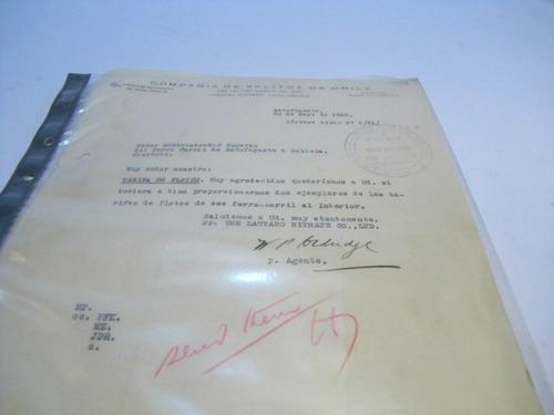 documento antiguo. compañía de salitres chile. fletes 1932