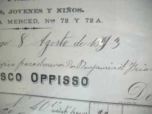 documento antiguo factura casa de ropa f opisso