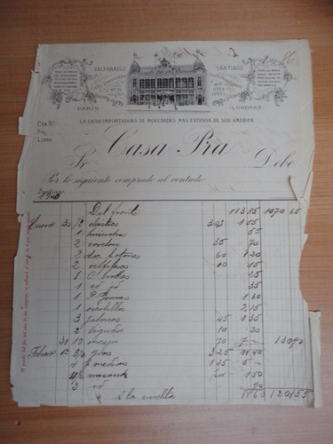 documento antiguo factura casa pra importadora  stg 1900