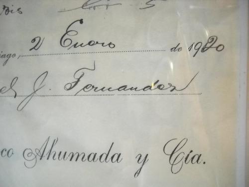 documento antiguo factura francisco ahumada & cia 1920