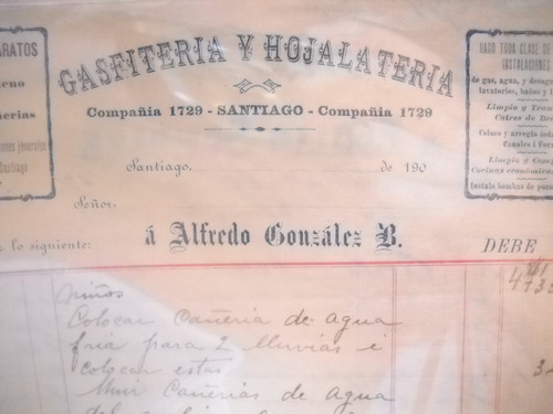documento antiguo factura gasfiteria hojalateria gonzalez 19