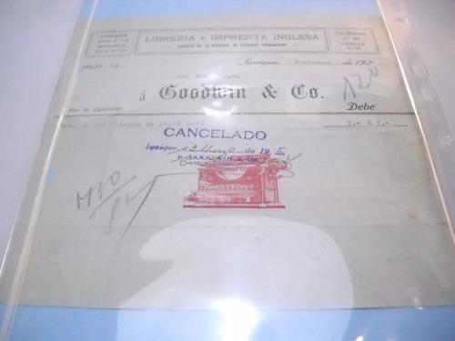 documento antiguo factura librería goodwin 1924