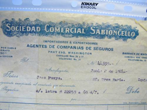 documento antiguo. factura sabioncello. antofagasta 1924