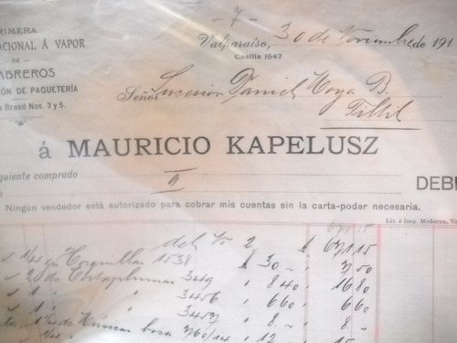 documento antiguo factura sombrereria kapelusz 1910