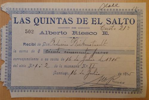 documento antiguo  quintas del salto santiago 1915