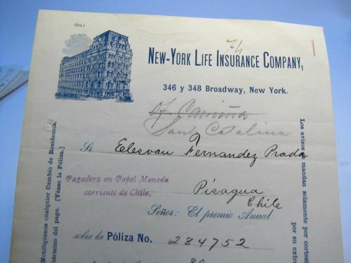 documento antiguo.pagare. new york life insurance. 1892