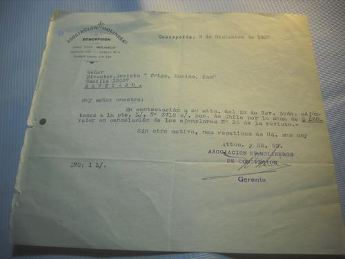 documento asociacion de molinera, concepcion, 1935.