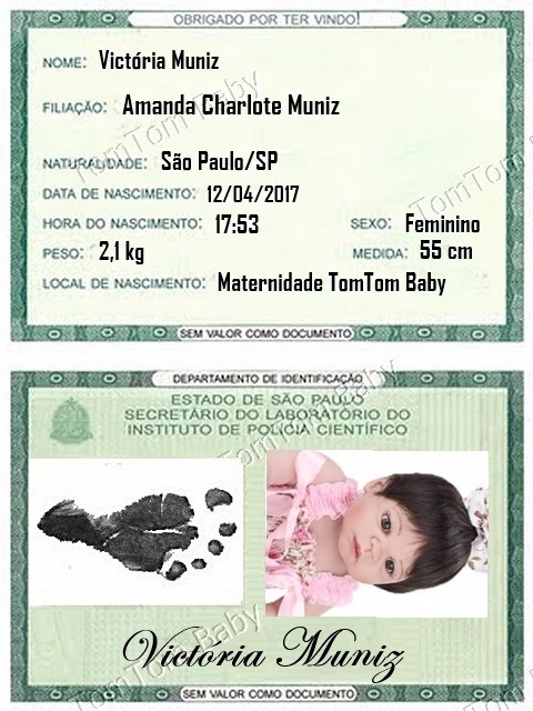f5d5657bd Documento Rg Para Bebê Reborn Personalizada Com Foto - R  6