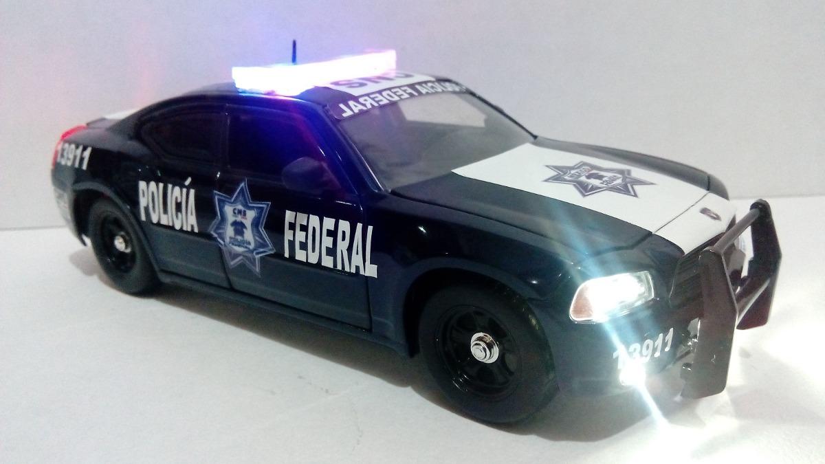 Dodge Charger Patrulla Policia Federal Cns Con Luz 1 24