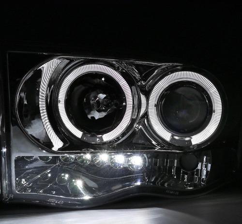 dodge ram 2002 - 2005 juego de faros con ojo de angel cromad