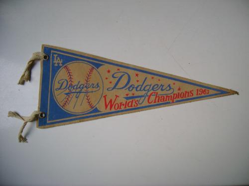 dodgers la worlds champions 1963  banderin baseball f