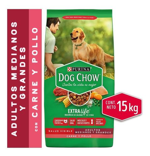 dog chow® adultos medianos y grandes carne y pollo 15 kg