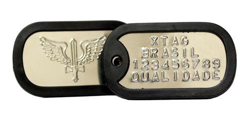 dog tag exército placa gravação alto relevo 2 correntes inox