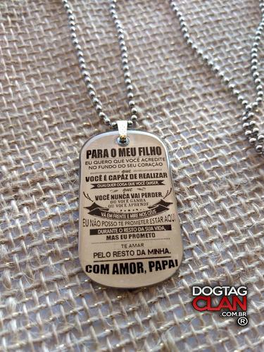 dog tag placa plaqueta mensagem pai para filho
