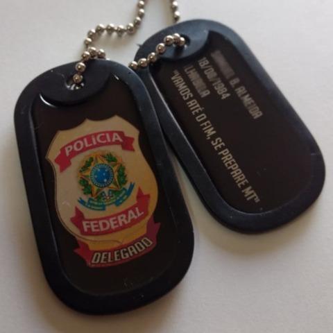 dog tag policia federal delegado gravado com seus dados