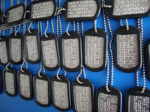 dog tags / juego 2 medallas militares / placa identificacion