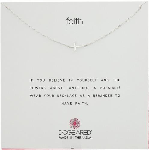 dogeared  faith  collar cruzado lateral de plata de ley, 16