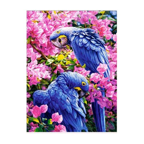 dois papagaios pintam a decoração feito à mão bordado parede