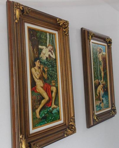 dois quadros pintados a óleo sob tela - moldura com ornato