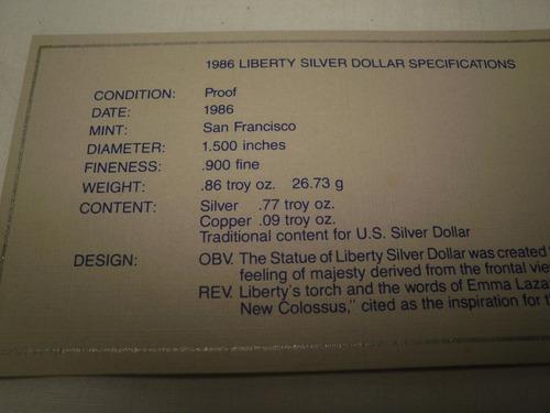 dolar de plata 1986 serie liberty plata proof