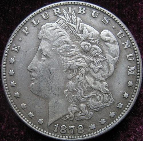 dólar morgan 1878 baño de plata acabado antiguo