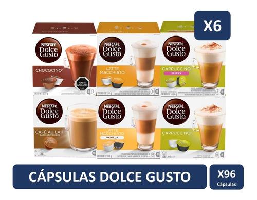 dolce gusto capsulas lacteados y chocolate pack x6 cajas