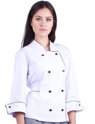 dolmã chef feminina preto detalhe branco+nome bordado
