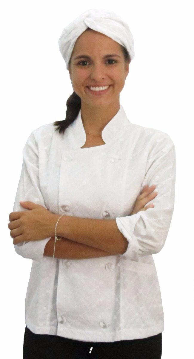dolma chef de cozinha feminina laise branca acinturada. Carregando zoom. cf18d1fa7ec