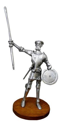 dom quixote prata grande em alumínio base madeira estatueta